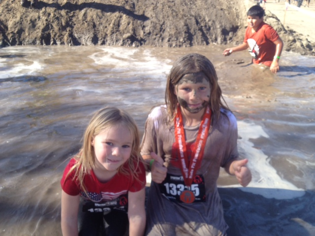 Mini Spartans taking part in the Spartan Jr race.